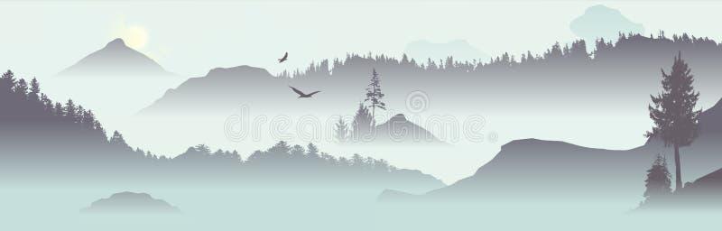 Mountain View med flygfåglar royaltyfri illustrationer