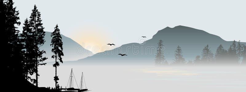 Mountain View med flygfåglar stock illustrationer