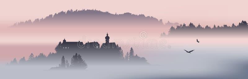Mountain View med flygf?glar royaltyfri illustrationer