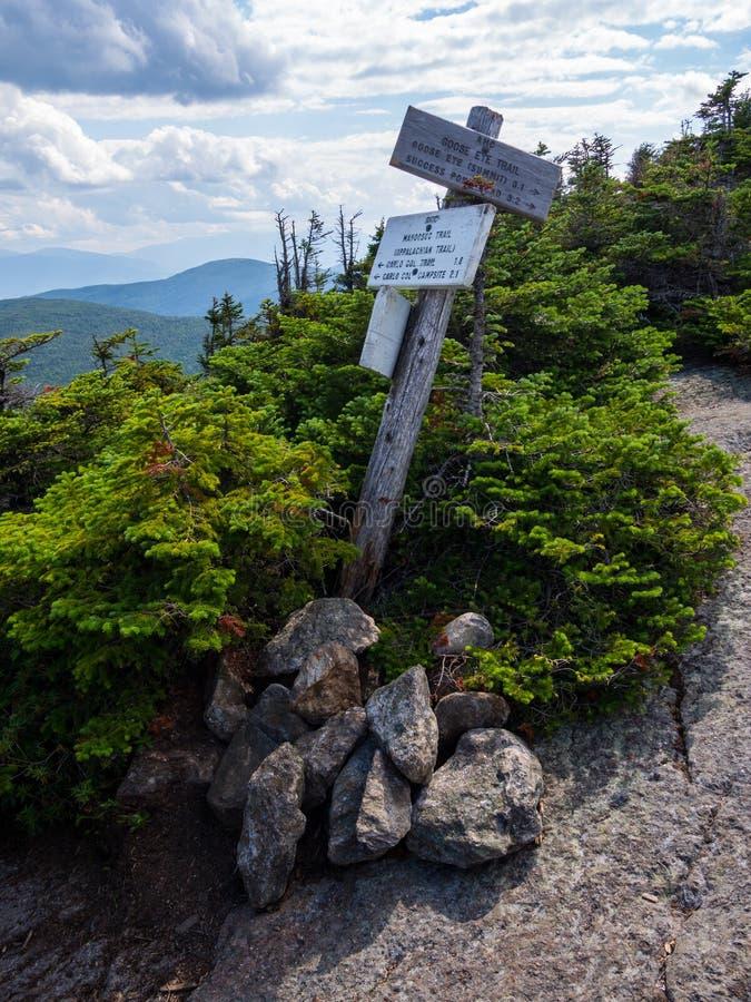 Mountain View med slingatecknet, täta Maine Forest, Mahoosuc område royaltyfri foto
