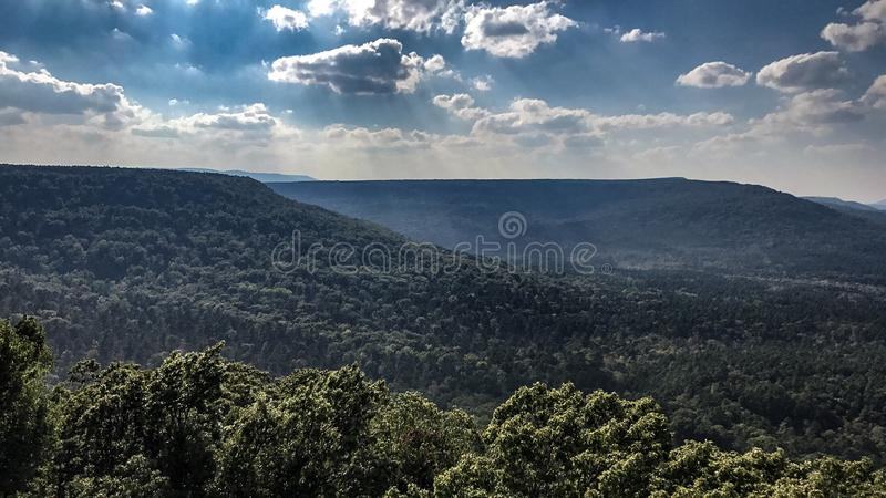 Mountain View. In the ozark mountains in north Arkansas stock images