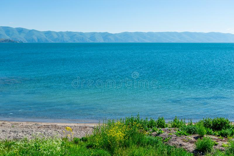 Mountain view on the opposite bank of Lake Sevan stock image