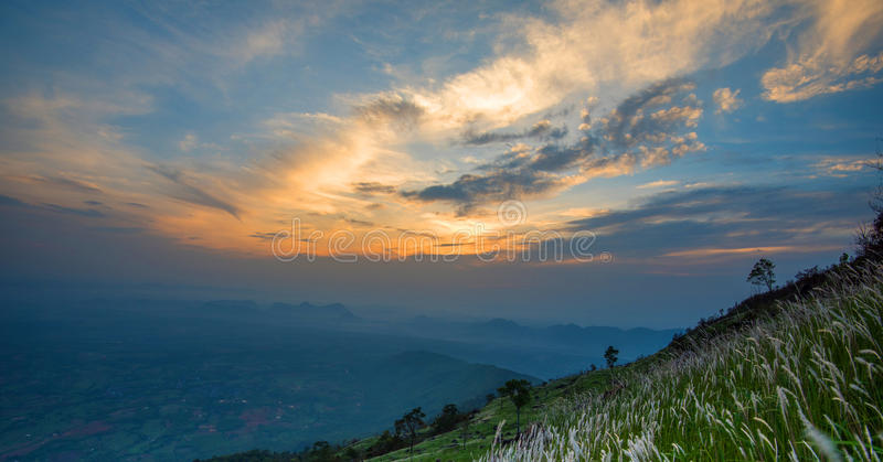 Mountain view. Mountain panorama with beautiful sky and clouds royalty free stock images