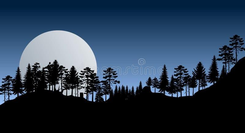 Mountain View por noche con los árboles libre illustration