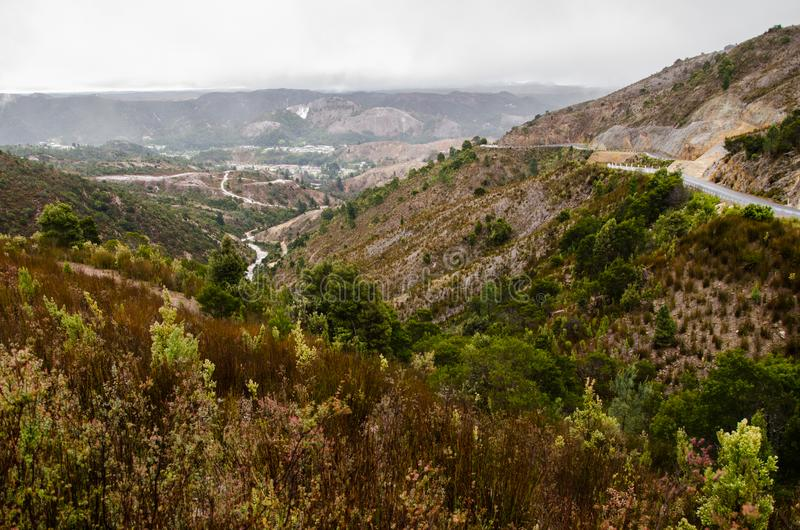 Mountain View, Queenstown, Tasmanige, Australië royalty-vrije stock foto's