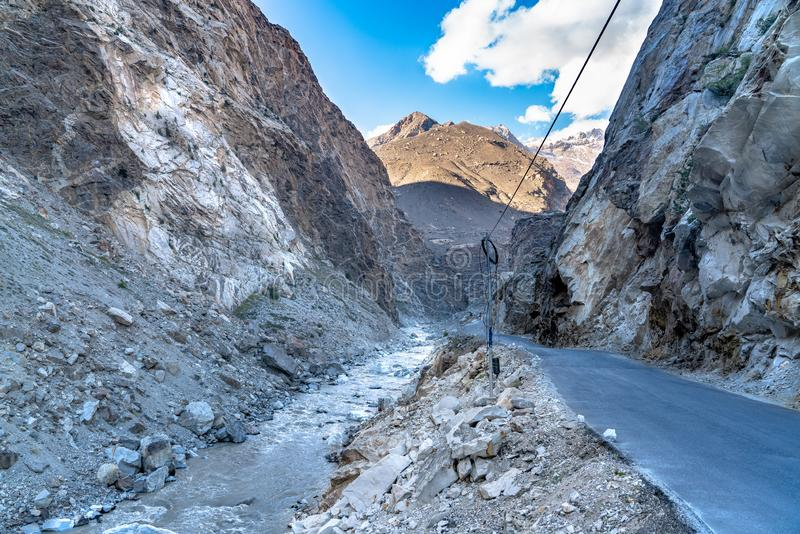 The mountain view on the road in spiti valley stock photo
