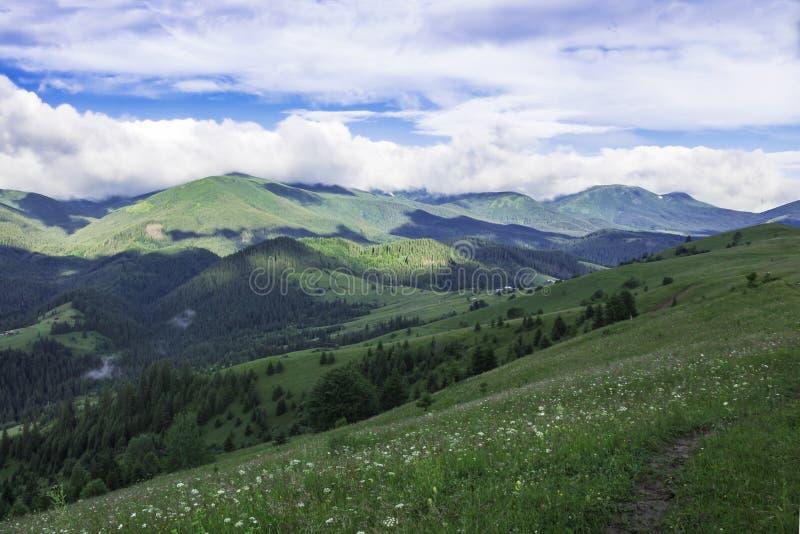 Mountain View scenico di estate con il cielo nuvoloso carpathians immagini stock libere da diritti