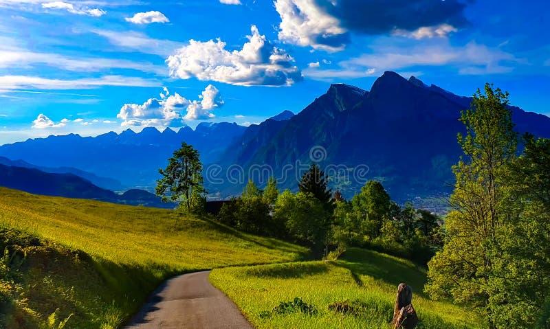 Mountain View suíço do panorama dos cumes fotografia de stock
