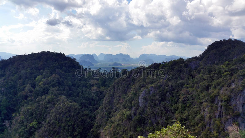 Mountain view from the Tiger Cave Temple, Thailand stock photo