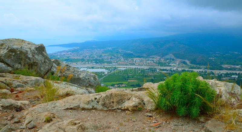 Mountain view to Camyuva or Chamyoova, is a small town in the district of Kemer, Antalya Province, Turkey stock photo