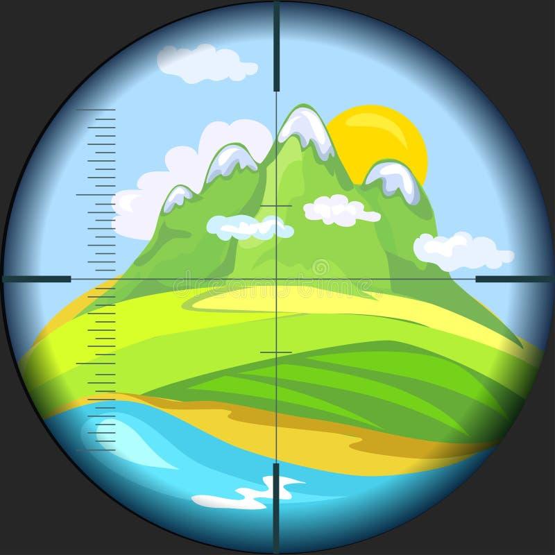 Mountain View a través del telescopio stock de ilustración