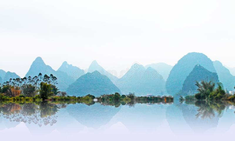 Mountain view in Yangshuo,China vector illustration