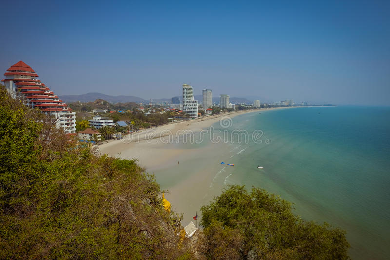 Mountain viewpoint of Hua Hin Beach. royalty free stock image