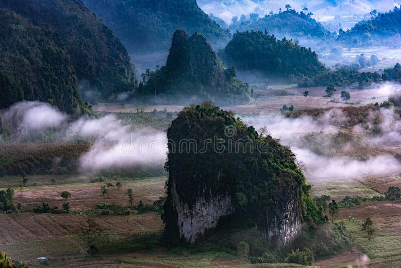 Mountain views and beautiful Mist of Phu Langka National Park, Phayao province,Thailand.  royalty free stock images