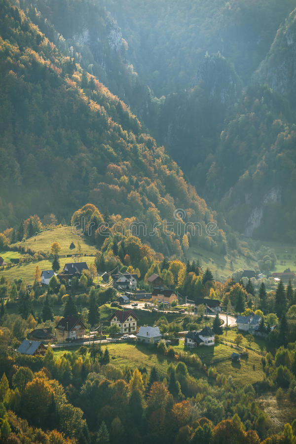 Mountain Village in Autumn. Afternoon Light - Carpathian Mountains royalty free stock photos