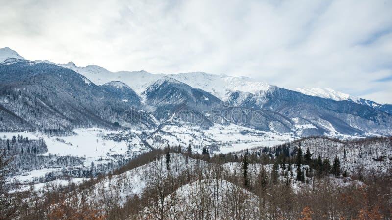 Mountain village in the Caucasus Mountains in winter, Svaneti, G. Eorgia royalty free stock images