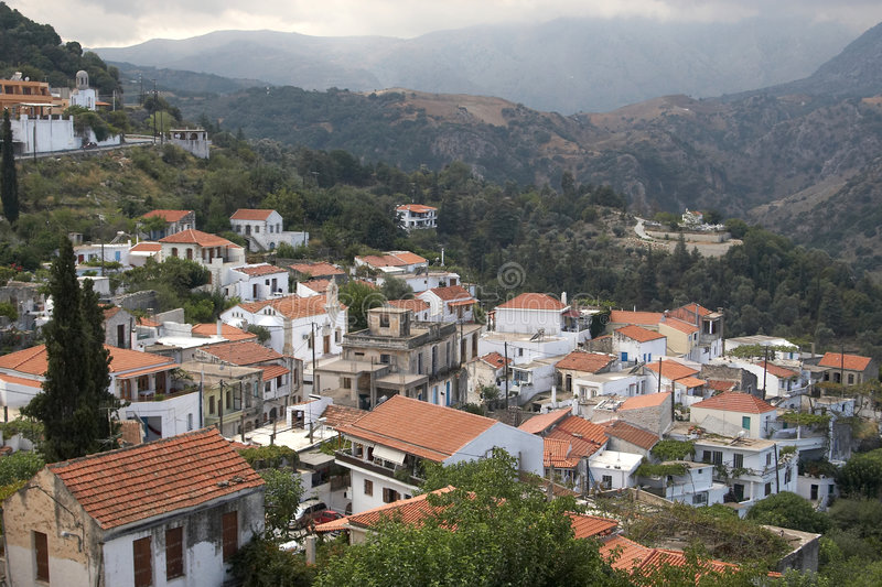 Mountain village, Crete, Greece stock images