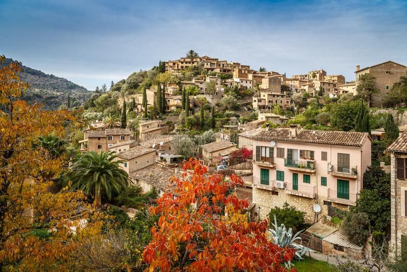 Mountain village Deia. Beautiful Mallorquin mountain village Deia in the `Serra de Tramuntana royalty free stock photos