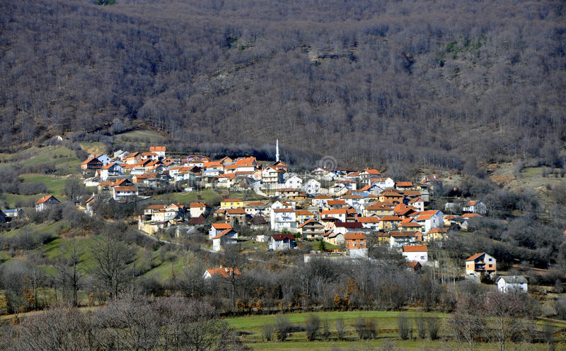 Mountain village. Houses placed on a hill in forest, southern Kosovo stock photos