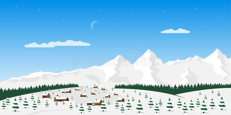Mountain village landscape vector illustration