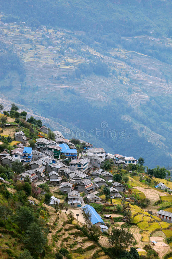 Download Mountain village in Nepal stock photo. Image of nepalese - 12603754