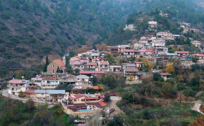 Mountain Village, Oikos Cyprus. Mountain village of Oikos at Troodos mountain range in Cyprus royalty free stock photos