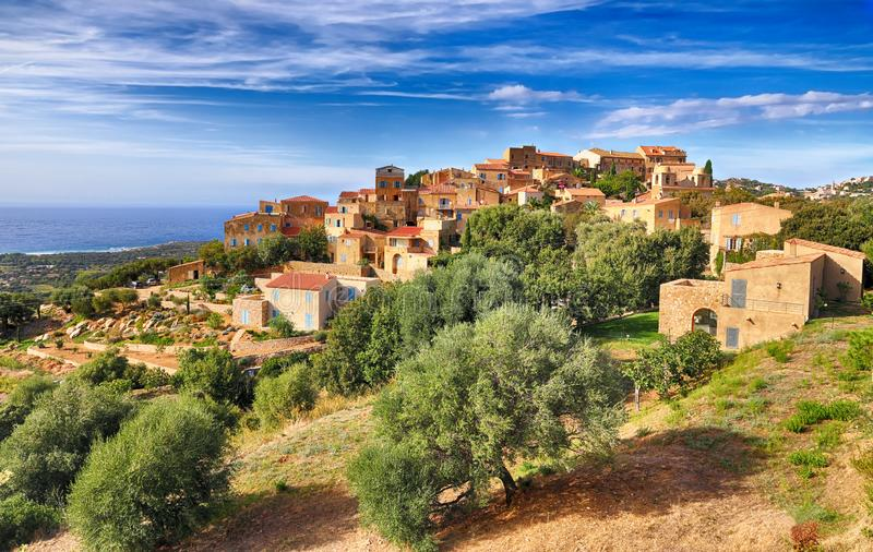 Mountain village Pigna Corsica. HDR image stock images