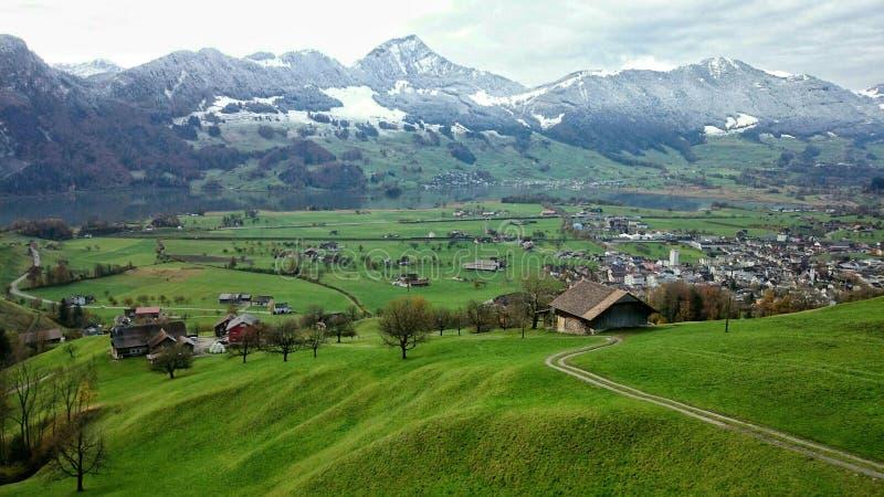 Mountain Village, Mountain Range, Grassland, Mountainous Landforms royalty free stock photos