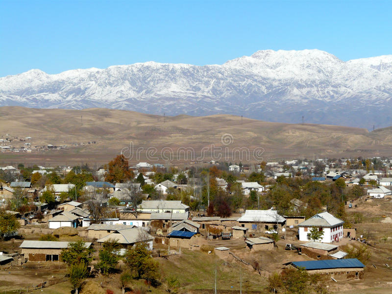 Mountain village. On the road from Dushanbe to the javana Tajikistan stock photography