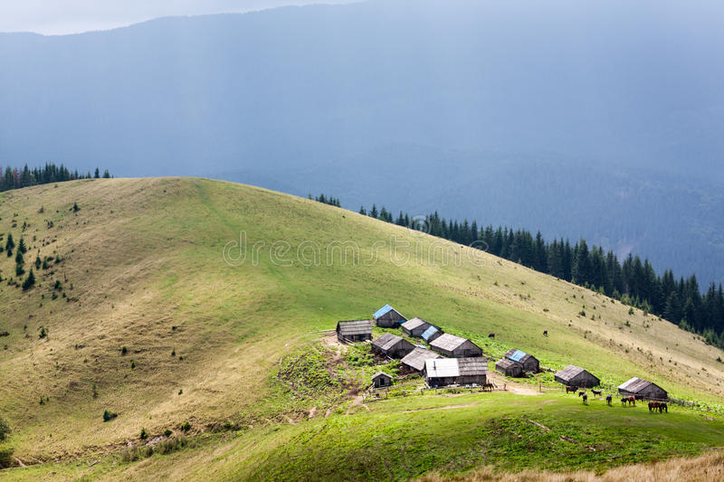 Download Mountain village stock photo. Image of backgrounds, green - 34196452