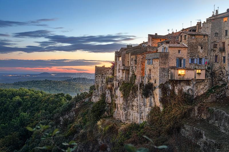 Mountain village Tourrettes-sur-Loup, France. Mountain village Tourrettes-sur-Loup on sunset, Alpes-Maritimes, France stock images