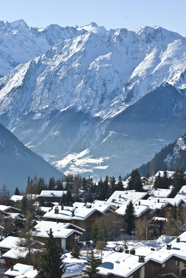 Download Mountain village verbier stock photo. Image of snowboarding - 8369384