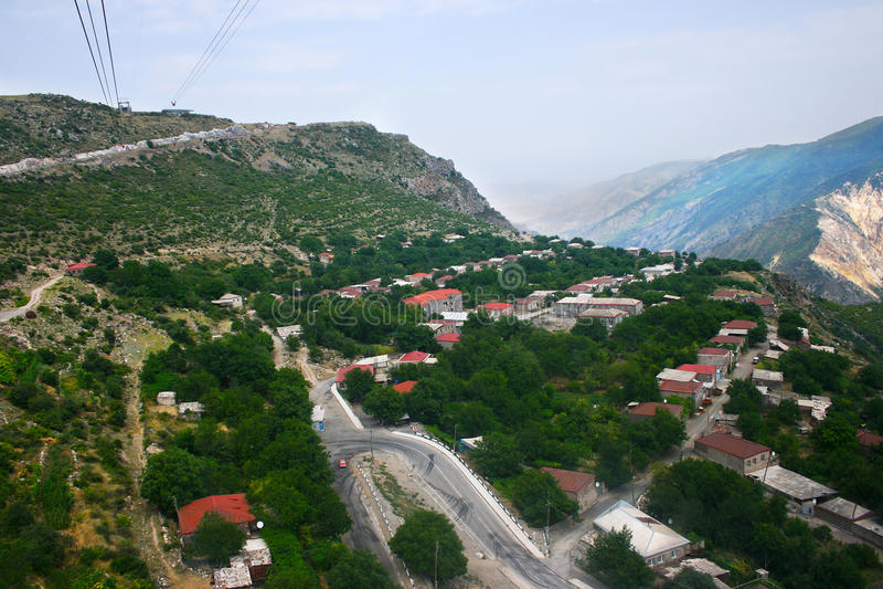Mountain village view from altitude stock photos