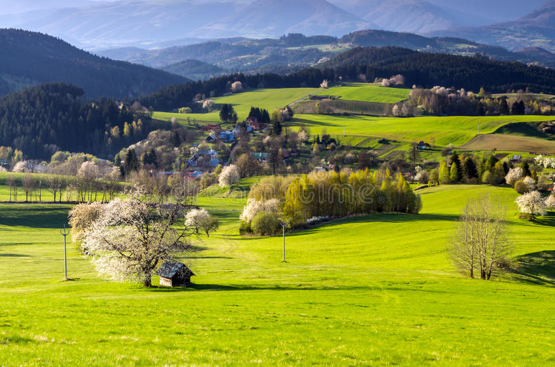 Mountain village. View of mountain village in the heart of Europe, Povraznik (Slovakia stock image