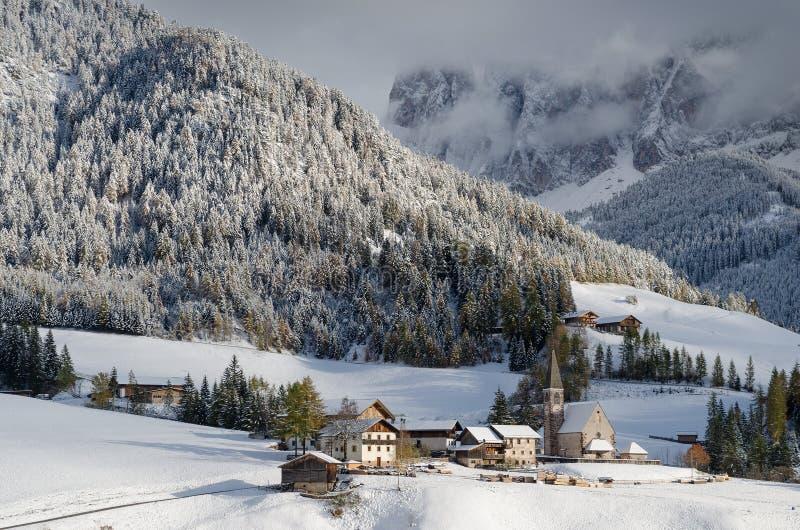 Mountain village in winter royalty free stock photos