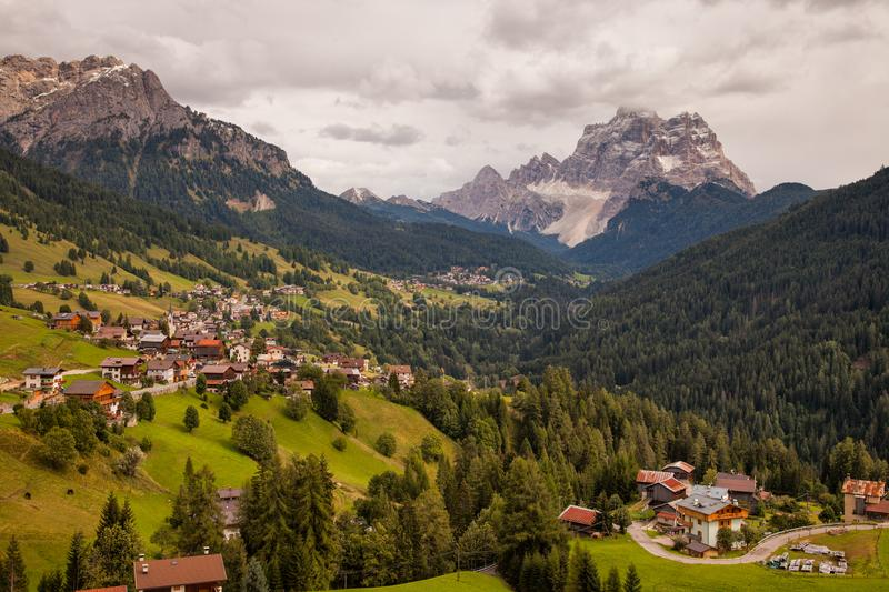 Mountain villages in the Dolomites in Northern Italy stock images