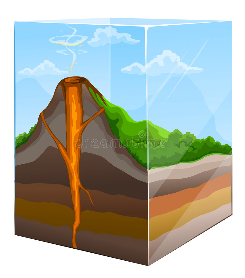 Mountain with volcano crater section in glass. Box illustration vector illustration
