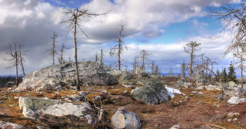 Mountain Vottovaara, Karelia, Russia. Vottovaara mountain, nature Karelia, northern landscape, the lake in the mountains, a mystical place, a place of power stock image
