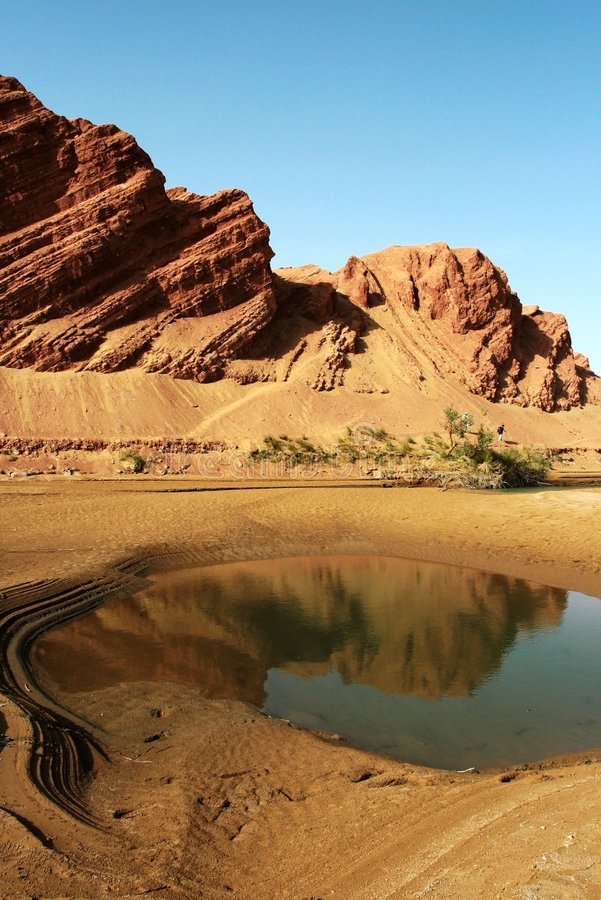 Mountain And Water In Desert Stock Images