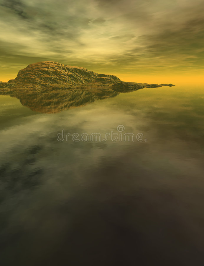 Mountain and water landscape. A colorful computer generated landscape of mountains and clouds reflected in still water vector illustration