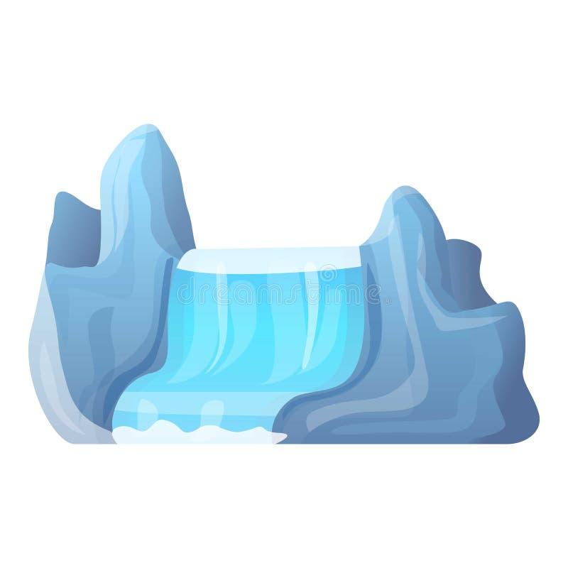 Mountain waterfall icon, cartoon style. Mountain waterfall icon. Cartoon of mountain waterfall vector icon for web design isolated on white background stock illustration