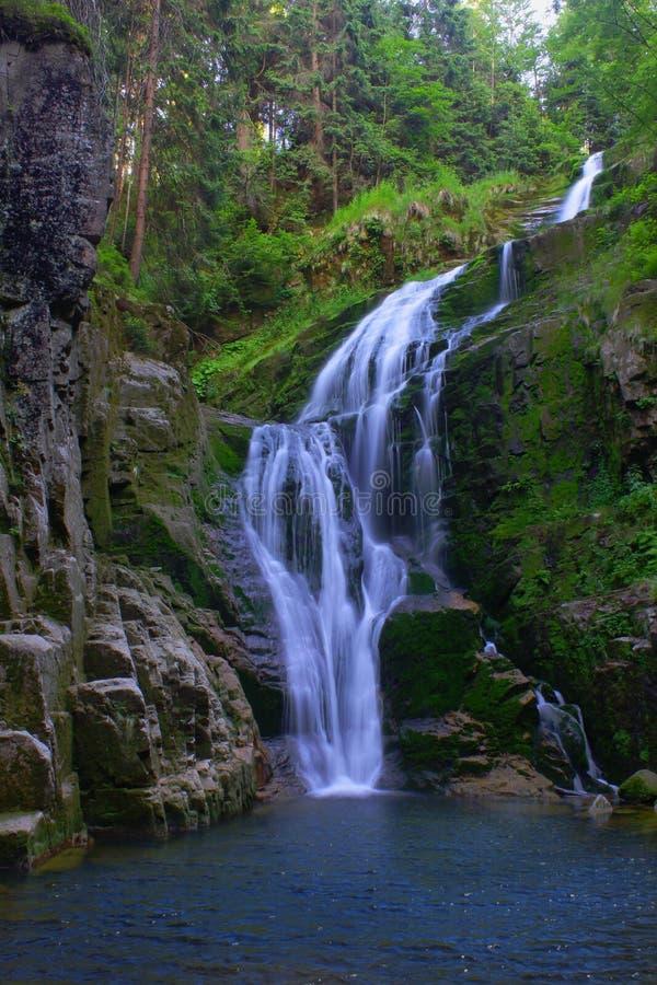 Mountain waterfall. Waterfall Kamienczyka in Szklarska Poreba Poland royalty free stock photo