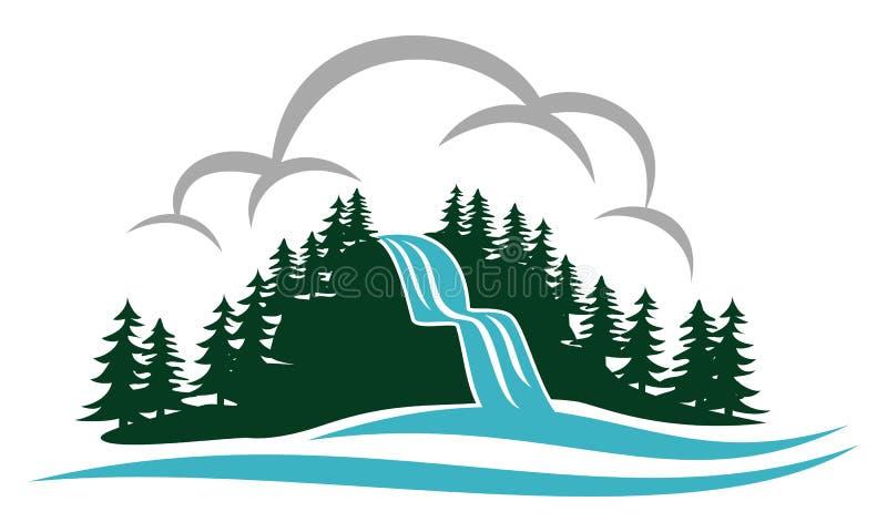 Mountain Waterfall Logo Design Template royalty free illustration