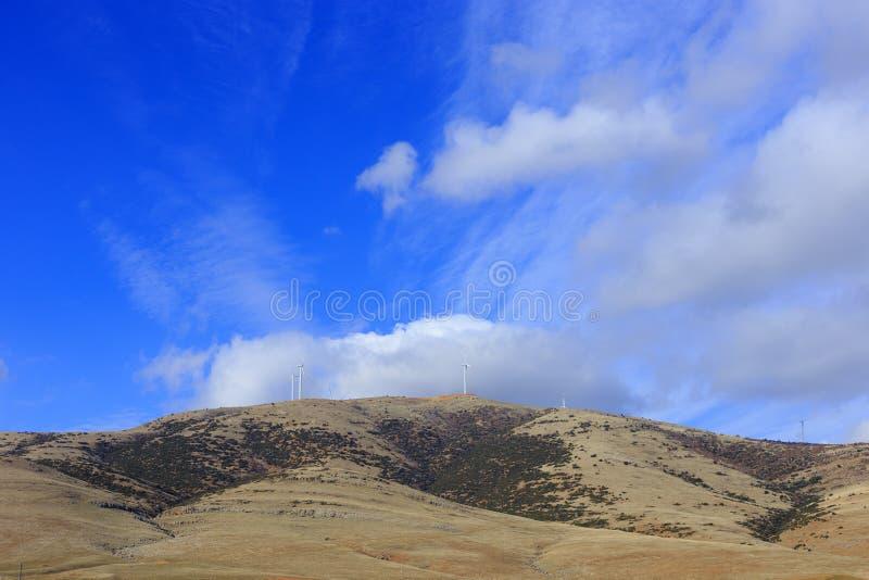 Mountain with Wind turbine power plant, Denizli, Turkey stock photo