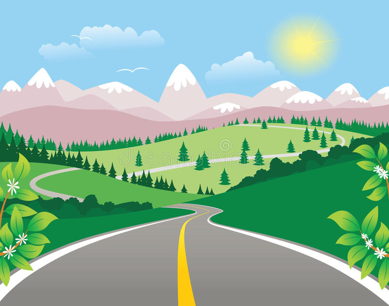 Mountain winding highway. An illustration of a winding mountain highway. E.P.S. 10 vector file included with image vector illustration