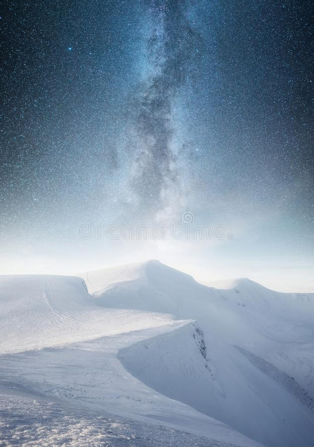 Mountain in the winter at the night time. Natural landscape in the winter time royalty free stock photos