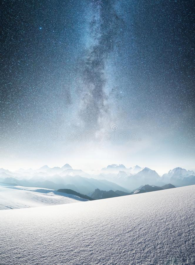 Mountain in the winter at the night time. Natural landscape in the winter time royalty free stock images