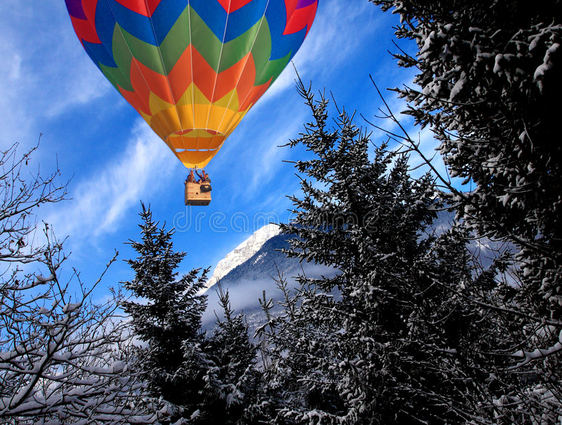 Download Mountain In Winter Time And Balloon Stock Photo - Image: 8864500