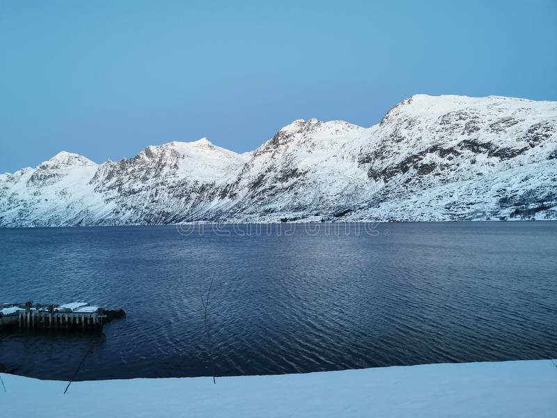 Mountain winter Tromso Norway royalty free stock images
