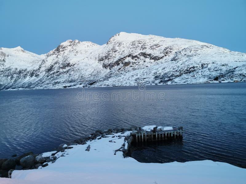Mountain winter at Tromso Norway stock photos